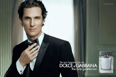 Matthew McConaughey poses in a black tuxedo suit and bow tie in the Dolce & Gabbana fragrance advertisement.