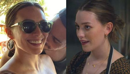 left: hillary duff and her husband kissing right a picture of Victoria as love quinn