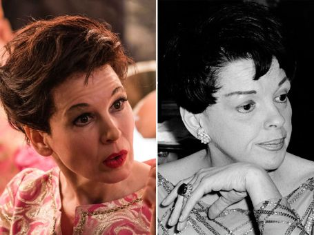 left: rene as judy right: judy garland black and white