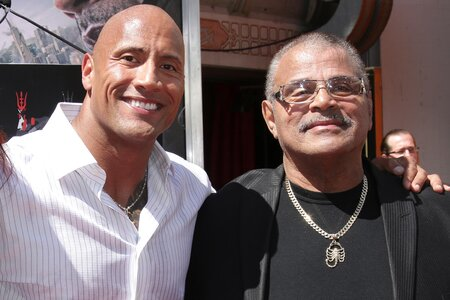 Rocky Johnson and his son Dwayne 'The Rock' Johnson.