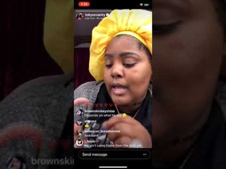 tokyo wearing a yellow hat on her instagram live video talking to fans