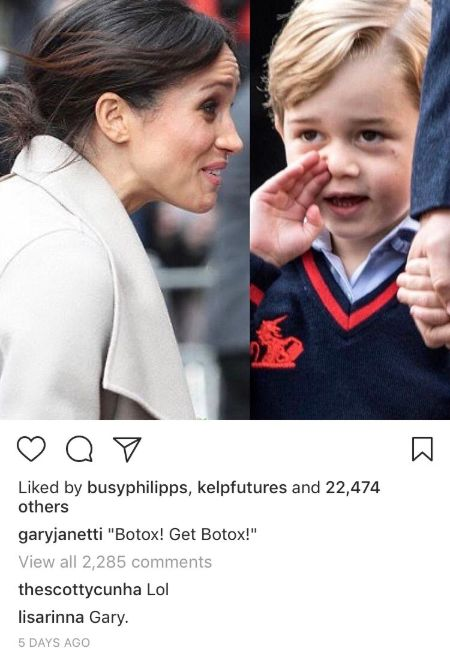 "left megan markle , right: prince george cupping his hand on his mounth with caption ""Botox! Get Botox!"""