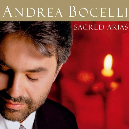Andrea Bocelli's 1999 album 'Sacred Arias' album cover. It features a head shot of the singer with his name and the album's name.