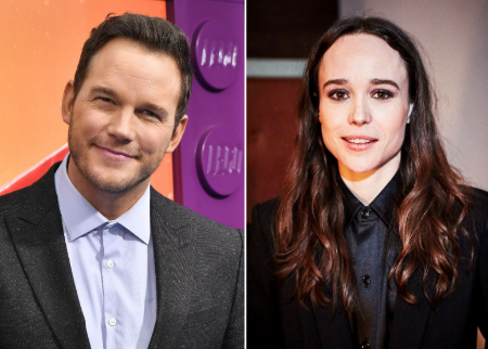 Chris Pratt in left and Ellen Page in right.
