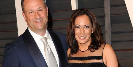 Kamala Harris and her husband pose for a picture.