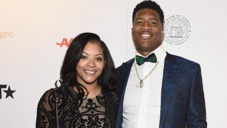 Jameis Winston poses a picture with wife Breion Allen.