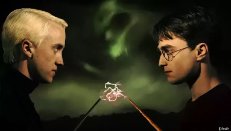 A picture of Harry Potter characters staring at each other.