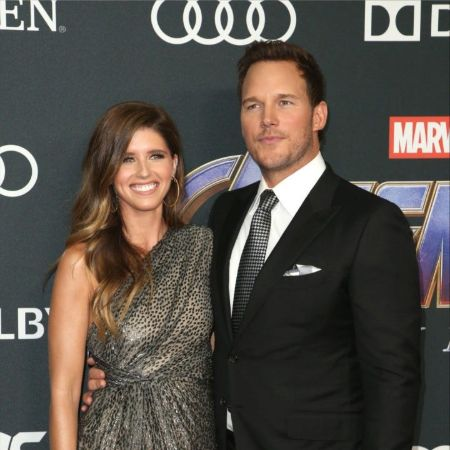 katherine and chris on the red carpet of marvel
