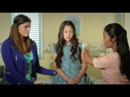 young jenna in the movie jane the virgin getting an injection