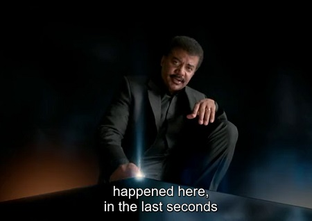 Neil DeGrasse Tyson at the end of the Cosmic Calendar.