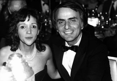 Carl Sagan and his then-fiance Ann Druyan at the Waldorf-Astoria circa 1980 in New York City.
