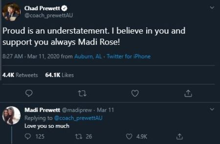 Chad Prewett supporting her daughter Madisson Prewett in a tweet.