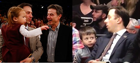 Richard Pitino with his daughter and son during different games, side by side pictures.