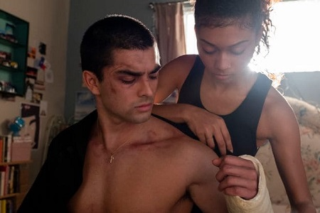 Diego Tinoco and Sierra Capri during a scene on 'On My Block'.