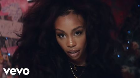 SZA's supermodel music video, in a black outfit