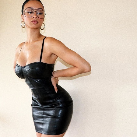 Draya Michele in a raunchy black leather one piece.