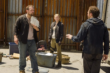 Martinez, Ross Marquand, and Lindsley Register in The Walking Dead.