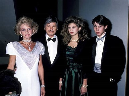 Jill Ireland, Charles Bronson, daughter Zuleika and son Tony during a Cancer Research Dinner.