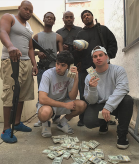 jesse and kyle with men holding gun and money on the floor