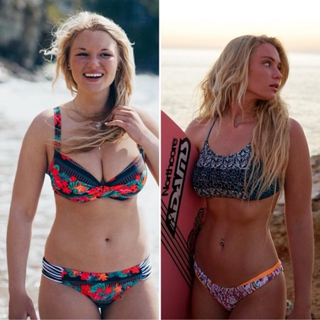 Lucie Donlan's Before and after the 2 stone weight loss.