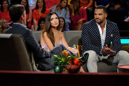 Clay Harbor and ex-girlfriend Nicole Lopez-Alvar during the 'Bachelor in Paradise' reunion.