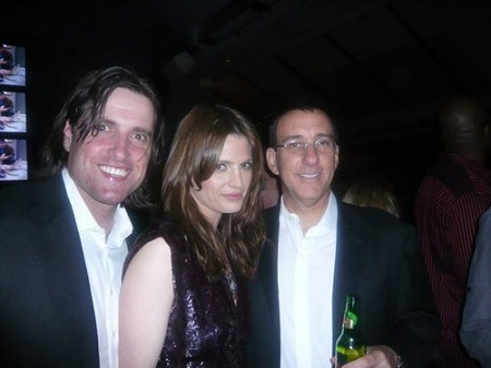 Stana Katic, husband Kris Brkljac and an unknown person At Greg Lauren Presents: Alteration Los Angeles Party, May 2010.
