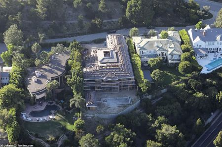 top view of the under construction mansion of katherine and chris