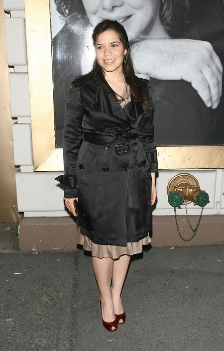 America Ferrera in 2016 wearing a trenchcoat.