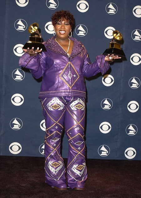 Missy Elliott receiving her first two Grammy's at the same time in 2017.
