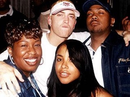 Aaliyah, Missy and Timberland at Eminem's Marshall Mathers Lp release party back in 2000.