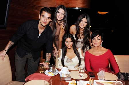 LAS VEGAS, NV - MARCH 16: (EXCLUSIVE COVERAGE) Rob Kardashian, Kendall Jenner, Kim Kardashian, Kylie Jenner and Kris Jenner dine at Stack restaurant at The Mirage Hotel and Casino on March 16, 2012 in Las Vegas, Nevada.