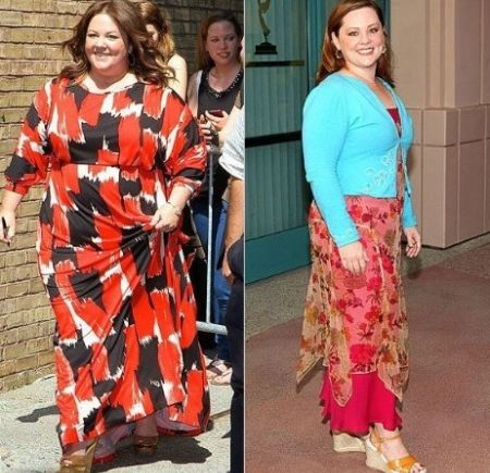 Before and after weight-loss picture of Melissa McCarthy.