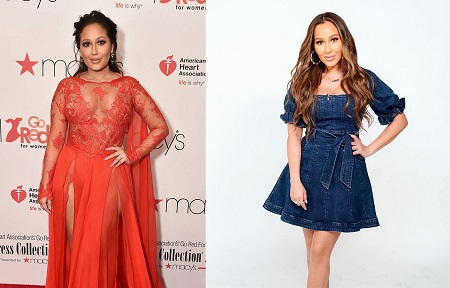 """Adrienne Bailon Stills at Go Red for Women Red Dress Collection 2018 Presented by Macy's in New York 2018/02/08"" vs Adrienne Bailon preparing for 'The Real' Podcast in March 2020."