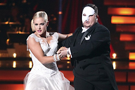 Chaz Bono and then DWTS partner Lacey Schwimmer during a dance routine on the show.
