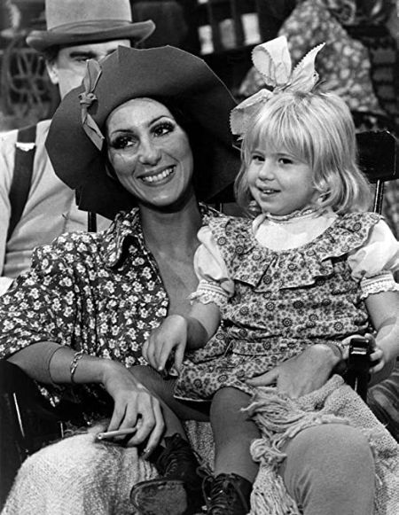 Young Chaz Bono with his mother Cher.