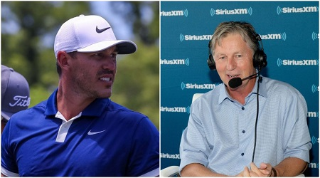 Brooks Koepka and Brandel Chamblee in two different photos.