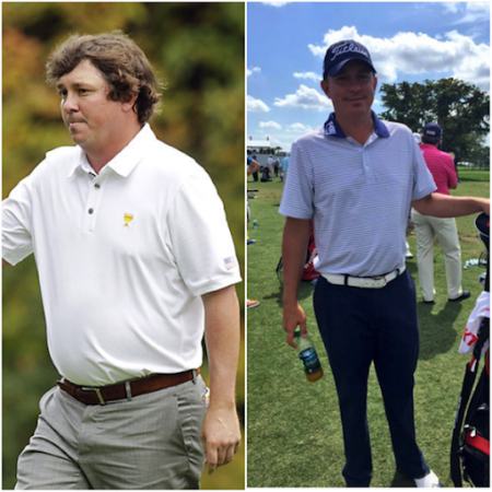 A before and after weight-loss picture of Bubba Watson.