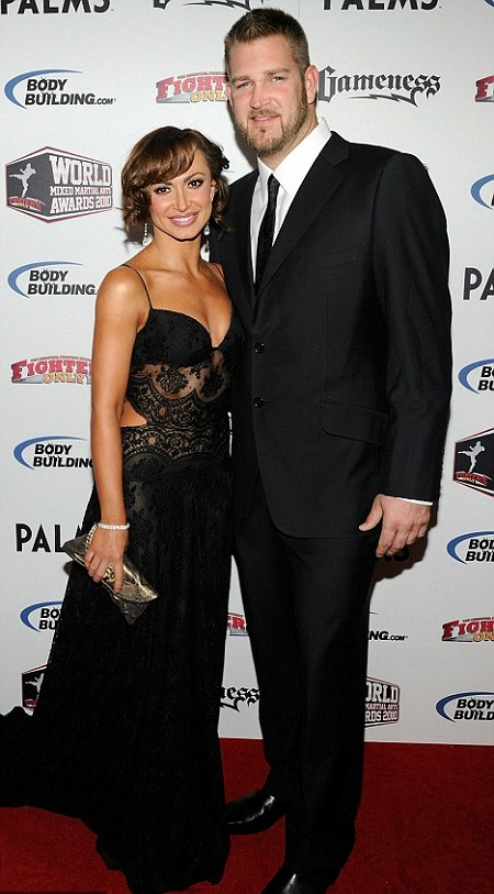 Karina Smirnoff and Brad Penny during a red carpet event.