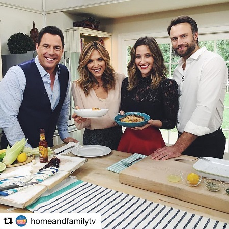 Jill and husband David with 'Home & Family' hosts.