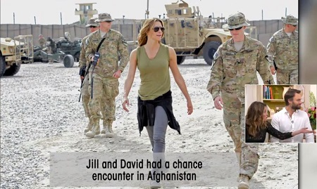 Jill Wagner at a base in Afghanistan with the troops in 2013.