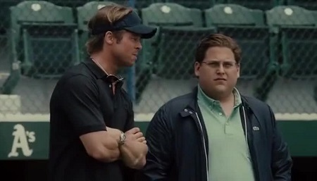 Brad Pitt and Jonah Hill in 'Moneyball'.