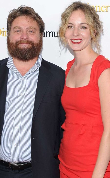 Zach Galifianakis poses a picture with wife Quinn Lundberg.