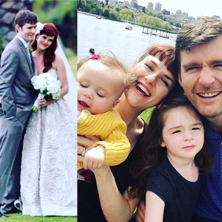 Two photos: One of the couple from the wedding and the other with their two kids.