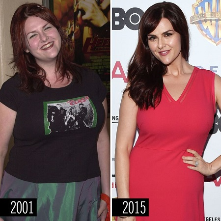 Sara Rue's weight loss in before and after pictures, 2001 vs 2015.