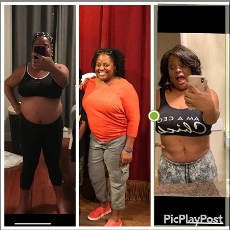 Sherri Shepherd in three before and after weight loss photos.