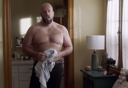 Chris Sullivan topless and in better as his character, 'Toby'.