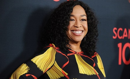 "Shonda Rhimes during the the 100th episode premiere of ""Scandal"" in April 2017."