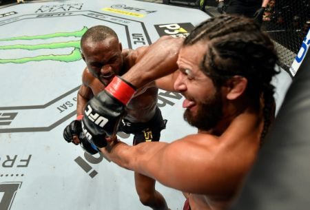 Jorge appeared in a slimmed and ripped physique for his welterweight title fight against Kamaru Usman.
