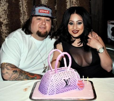 Chumlee poses for a picture with ex-girlfriend Tanya Hyjazi