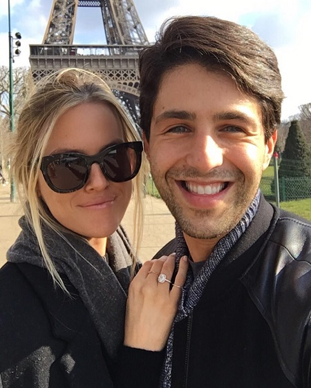 Josh Peck and wife Paige O'Brien in the mentioned photo with Eiffel Tower in Paris.